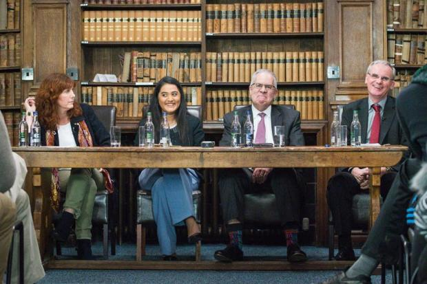 The panelists at a February 27 panel discusion about whistleblowing hosted by the Oxford Union. Left to right: internet and human rights activist Heather Marsh; moderator Laali Vadlamani; former US intelligence operative and administrator David Shedd, at whose behest the Oxford Union has refused to publish video of the conversation; and the third panelist, Ewan MacAskill of the Guardian newspaper. Photo courtesy of the Oxford Union.