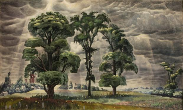 Charles E. Burchfield (1893-1967), The Three Trees, 1931-46; watercolor on paper, 36 x 60 inches; Salem Public Library, Gift of Miss Alice MacMillan in memory of her father Joel, on the occasion of the 100th anniversary of the MacMillan Book Shop.