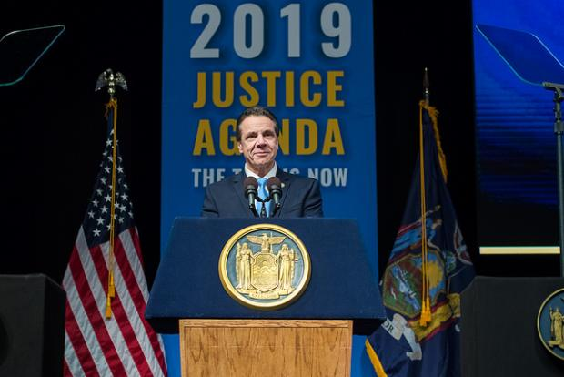 New York Governor Andrew Cuomo at his 2019 State of the State address (via Flickr).