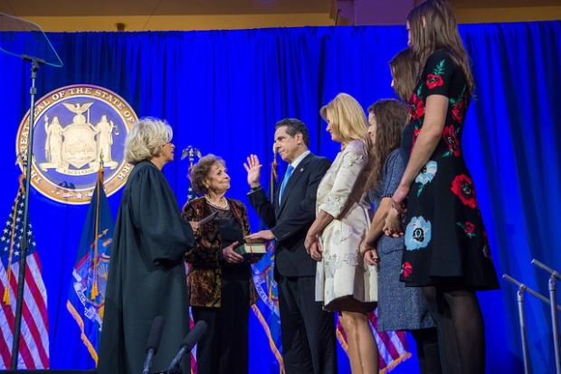 Governor Andrew Cuomo is sworn in to his third term on January 1. Photo courtesy of the governor's press office.