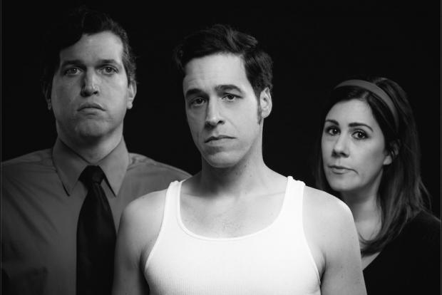 Steve Copps, Ben Michael Moran, and Kristin Bentley in Second Generation Theatre Company's Angels in America. Photo by Mark Duggan.