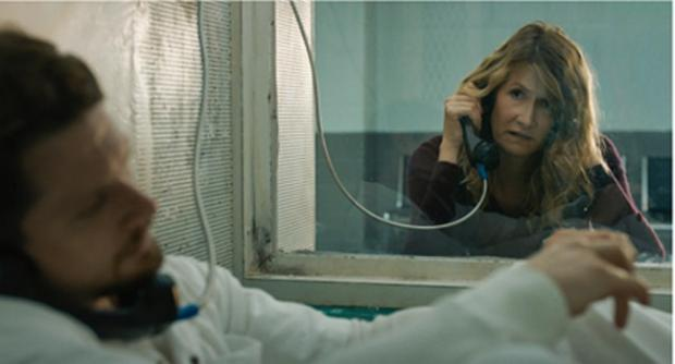 Jack O'Connell and Laura Dern in Trial by Fire, now playing at the Dipson Eastern Hills Mall.