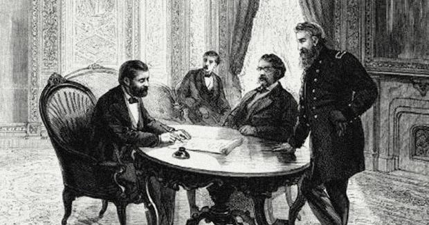 President Ulysses S. Grant signs the Third Ku Klux Klan Act, April 1871.